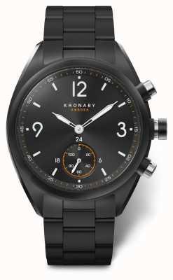 Kronaby Mens apex 41 bluetooth roestvrij staal zwarte wijzerplaat / armband A1000-3115
