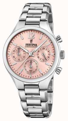 Festina Dames boyfriend chronograaf roestvrijstalen roze wijzerplaat F20391/2