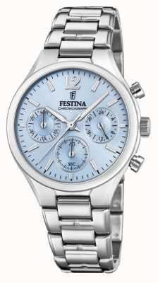 Festina Dames boyfriend chronograaf roestvrijstalen blauwe wijzerplaat F20391/3