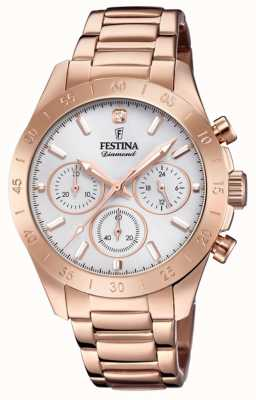 Festina Womens boyfriend chronograph rose gold pvd F20399/1