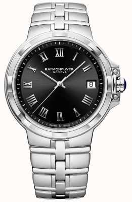Raymond Weil Heren parsifal roestvrij stalen armband zwarte wijzerplaat 5580-ST-00208