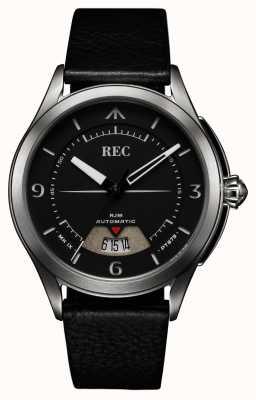 REC Spitfire automatische zwarte leren riem RJM-01