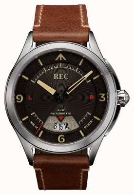 REC Spitfire automatisch bruin lederen band RJM-02