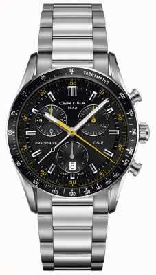 Certina Mens ds-2 | precidrive chronograaf | zwart / gele wijzerplaat C0244471105101
