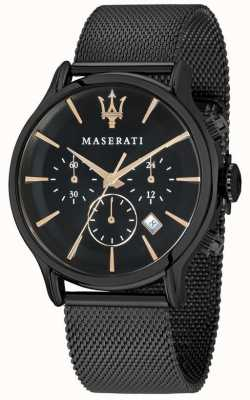 Maserati Epoca 42 mm heren | zwarte wijzerplaat | zwarte mesh armband R8873618006