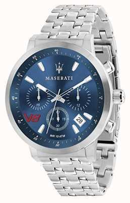 Maserati Heren gt 44 mm | blauwe wijzerplaat | zilveren roestvrijstalen armband R8873134002
