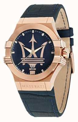 Maserati Mens potenza 42mm | vergulde behuizing | blauwe wijzerplaat R8851108027