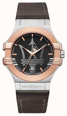 Maserati Mens potenza 42mm | verguld roestvrij staal | bruine stra R8851108014