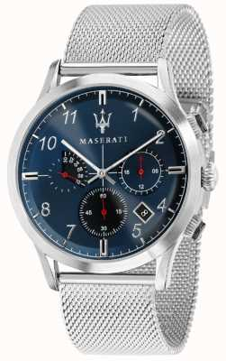 Maserati Mens ricordo 42mm | blauwe wijzerplaat | roestvrijstalen mesh armband R8873625003