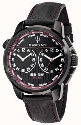 Maserati Mens successo 44mm | zwarte wijzerplaat | zwarte leren riem R8851121002