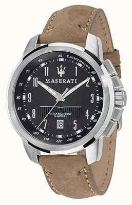 Maserati Mens successo 44mm | zwarte wijzerplaat | leren riem R8851121004