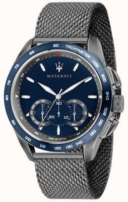 Maserati Mens traguardo 45mm | blauwe wijzerplaat | grijze netwerkarmband R8873612009