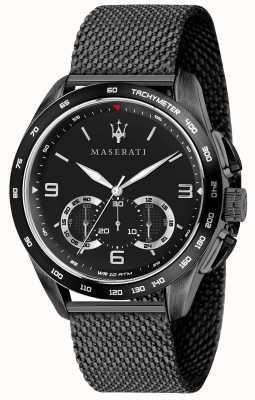 Maserati Mens traguardo 45mm | zwarte wijzerplaat | zwarte mesh armband R8873612031