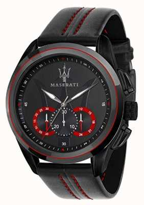 Maserati Mens traguardo chronograph | zwarte wijzerplaat | zwart leer R8871612023