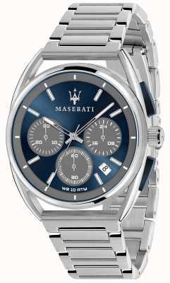 Maserati Trimarano heren 41 mm | blauwe wijzerplaat | roestvrijstalen armband R8873632004