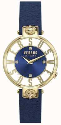 Versus Versace Dames kirstenhof | blauw / witte wijzerplaat | blauwe leren riem VSP490218