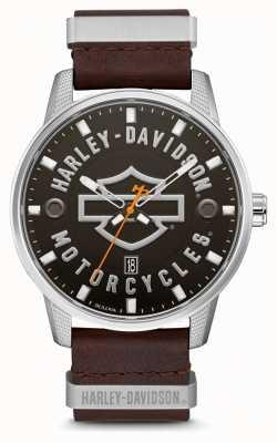 Harley Davidson Bruine leren herenriem met leder, wijzerplaat met wijzerplaat 76B178