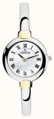 Michel Herbelin Dames bangle horloge zilver | goud | parelmoer wijzerplaat 17413/BT29