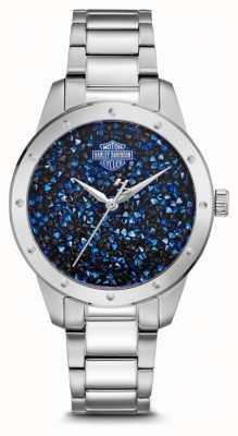 Harley Davidson Dameskristal blauwe wijzerplaat instellen | roestvrijstalen armband 76L188