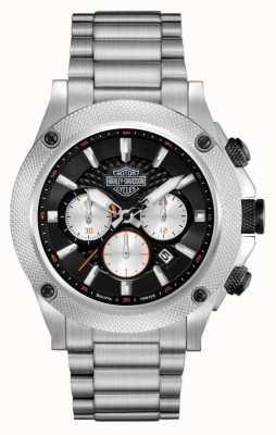 Harley Davidson Mens chronograaf | zwarte wijzerplaat | zilver roestvrij staal 78B126