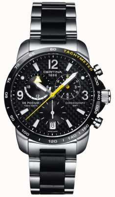 Certina | ds podium | gmt chronograaf | staal zwart koolstof | C0016392220701