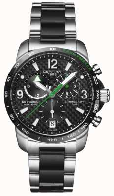 Certina | ds podium | gmt chronograaf | staal zwart koolstof | C0016392220702