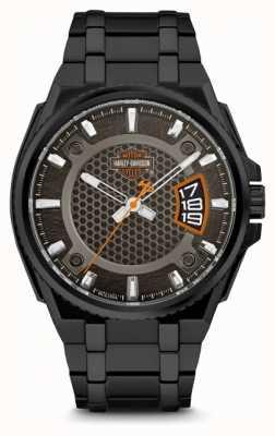 Harley Davidson Mens voor hem | zwarte wijzerplaat | zwarte roestvrijstalen armband 78B151