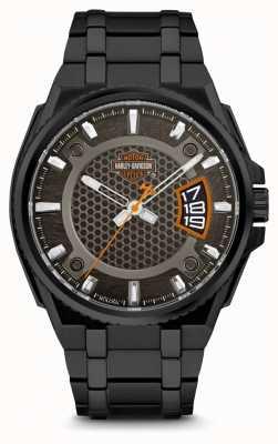 Harley Davidson Mens voor hem   zwarte wijzerplaat   zwarte roestvrijstalen armband 78B151