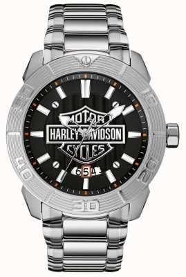 Harley Davidson Heren roestvrijstalen armband | zwarte wijzerplaat 76B169