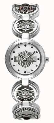Harley Davidson Dames bedelarmband polshorloge | zilver roestvrij staal 76L145