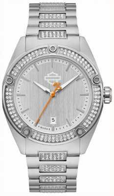 Harley Davidson Cyrstal-set voor dames | roestvrijstalen armband | zilveren wijzerplaat 76L187