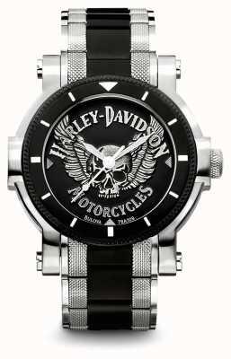 Harley Davidson Heren tweekleurige roestvrijstalen armband | zwarte wijzerplaat 78A109