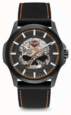 Harley Davidson Mens willie g schedel | zwarte wijzerplaat | zwarte siliconen riem 78A118