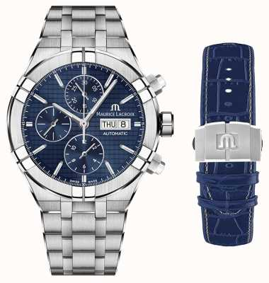 Maurice Lacroix Aikon automatisch chronograaf roestvrij staal met tweede riem AI6038-SS002-430-1-WITH-STRAP