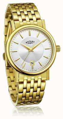 Rotary Heren slank vergulde edelstalen armband   zilveren wijzerplaat GB03635/03