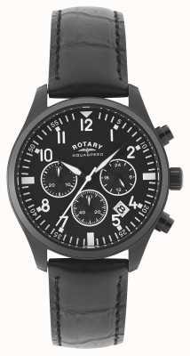 Rotary Mens chronograaf   zwarte leren riem   zwarte wijzerplaat GS00110/04