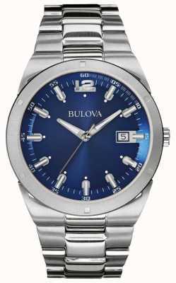 Bulova Heren klassieke blauwe wijzerplaat roestvrij stalen armband datum 96B220