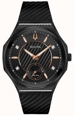 Bulova Damessnaar met diamanten zwart rubberen band 98R240