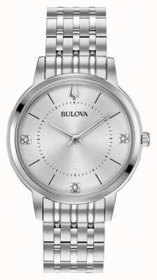 Bulova Dames diamant wijzerplaat roestvrij stalen armband 96P183