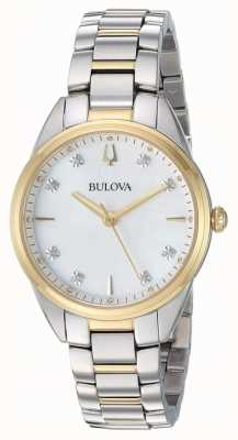 Bulova Tweekleurige dameshorloge in diamanten, parelmoer 98P184