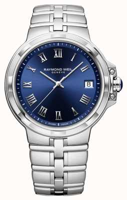 Raymond Weil Parsifal klassiek blauw wijzerplaat armband horloge 5580-ST-00508