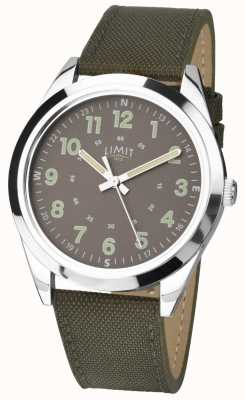 Limit Heren | horloge in militaire stijl | kaki groene riem & groene wijzerplaat 5951