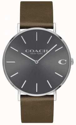 Coach Mens Charles | bruine leren riem | grijze wijzerplaat 14602153