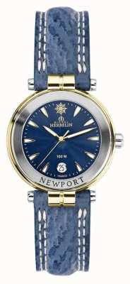 Michel Herbelin Womens newport blue strap verguld 14255/T35