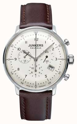 Junkers Heren bauhaus chronograaf bruine lederen band 6086-5