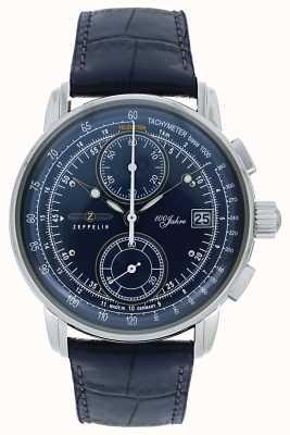 Zeppelin | serie 100 jaar | chronograaf datum | blauw leer | 8670-3