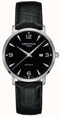 Certina Heren ds caimano zwart lederen band zwarte wijzerplaat C0354101605700