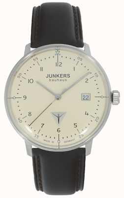 Junkers Bauhaus crème wijzerplaat bruin lederen band horloge 6046-5