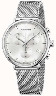 Calvin Klein | heren hoge middag roestvrijstalen band | zilveren wijzerplaat | K8M27126