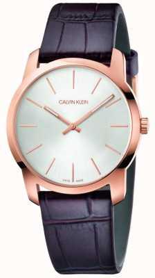 Calvin Klein | stadsuitbreiding horloge | bruine leren riem | zilveren wijzerplaat | K2G226G6